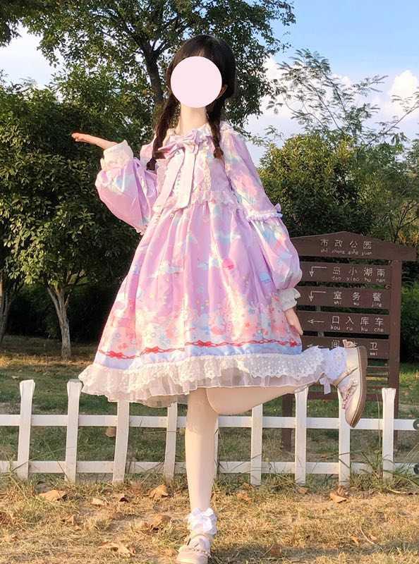 Honey rabbit ball OP long sleeve autumn winter sweet girl dress original Lolita spot interface gift