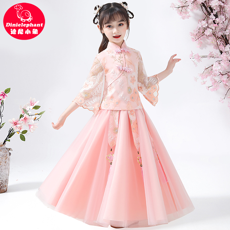 Children's Hanfu, women's spring and autumn girls' ancient dress, summer dress, super fairy Chinese style, Tang suit, children's dress, girl's dress, summer