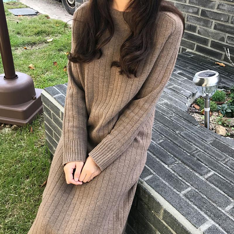 2018秋冬季新款韩版打底毛衣裙过膝针织连衣裙女长款加厚宽松毛衣