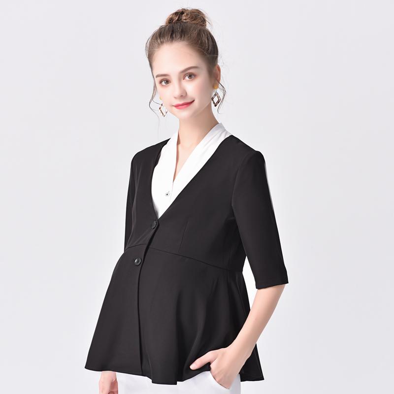 夏季职业孕妇小西装2019夏装新款薄款外套女黑色商务中袖百搭上衣图片