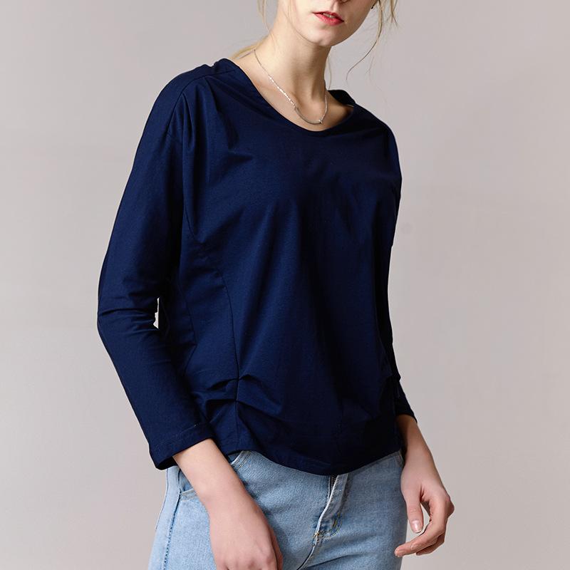 新款春装奥戴尔纯棉圆领长袖上衣女薄款收腰松紧宽松打底衫