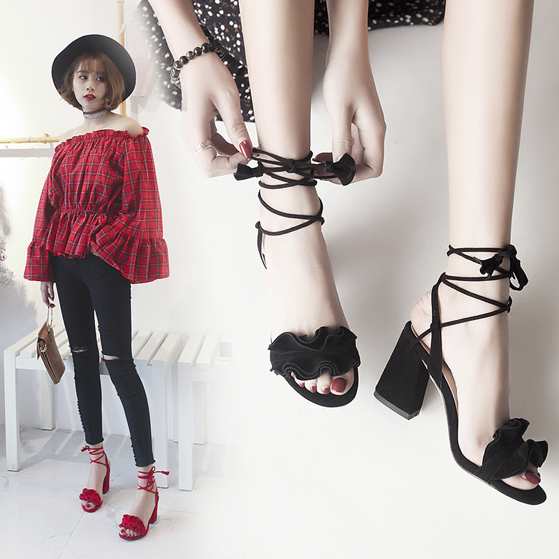 香港代购欧洲站新款粗跟中跟脚踝绑带凉鞋真皮高跟鞋性感简约潮