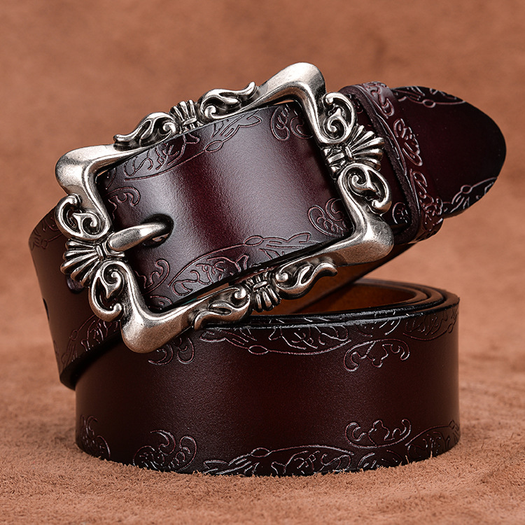 Womens Retro Leather Belt womens pin buckle casual versatile womens belt fashion decorative Jeans Belt