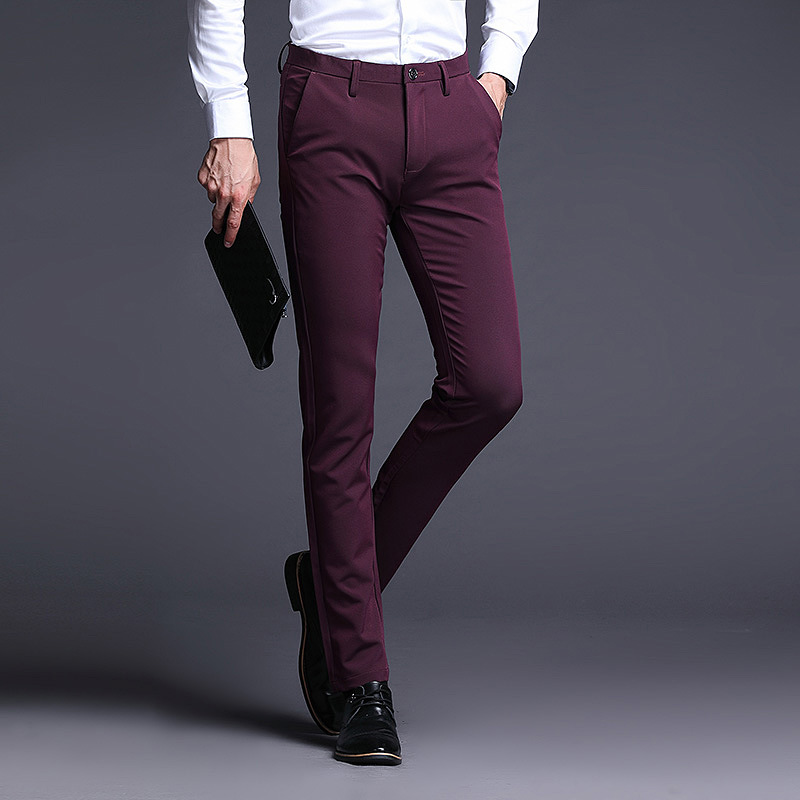 Wine red trousers for young men to give a speech