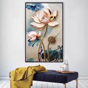 浮雕荷花莲蓬图点钻石画简约现代新款客厅满钻花卉砖石十字绣竖版