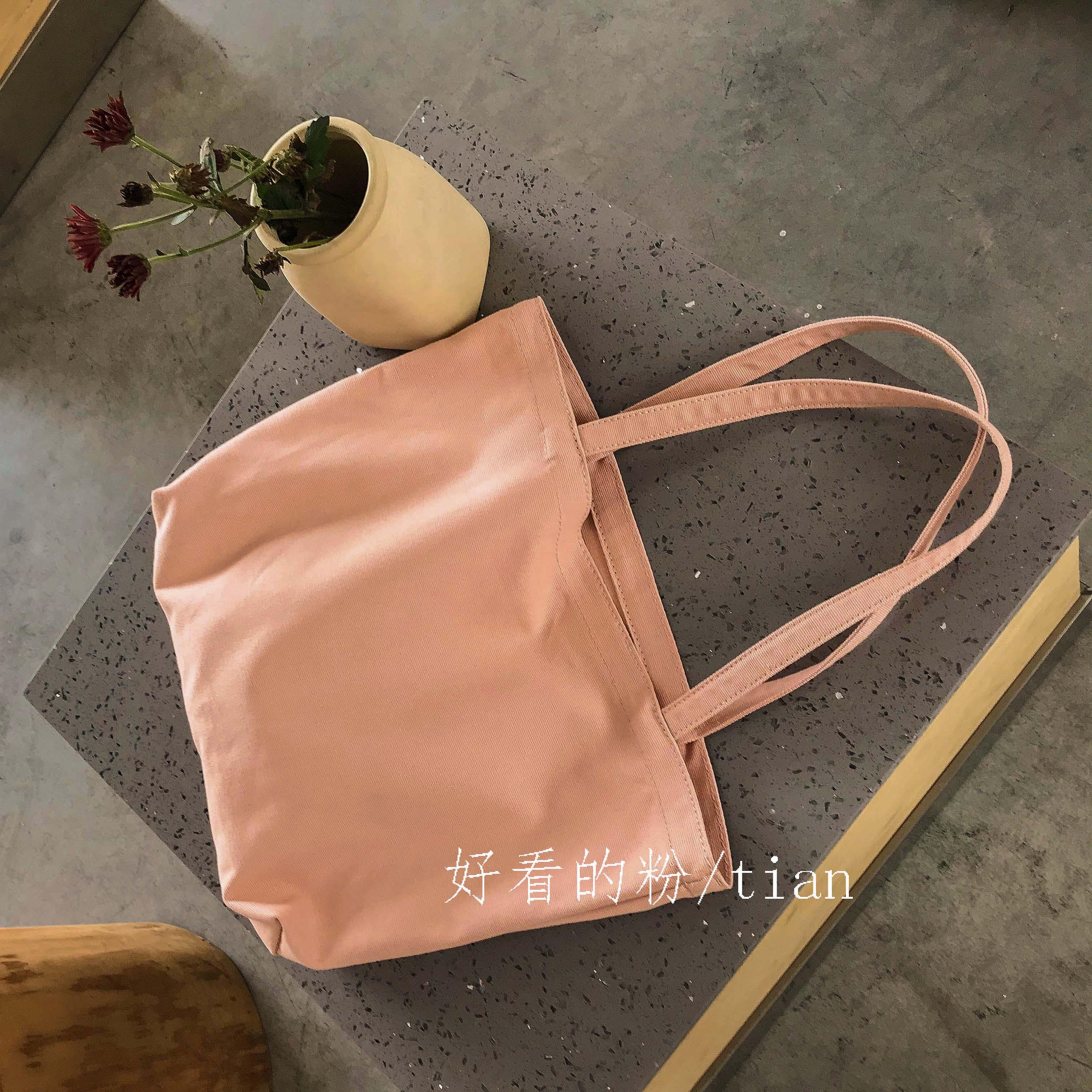 学生单肩包ins日系百搭拎书袋子夏季少女系纯色休闲可爱帆布大包