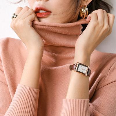 【第二件0元】堆堆领羊绒短款宽松慵懒风高领套头韩版打底针织衫