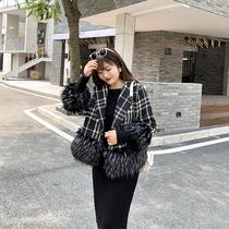 大姗姗家韩版八分袖外套2019小香风格呢子短上衣胖妹妹加大码女装
