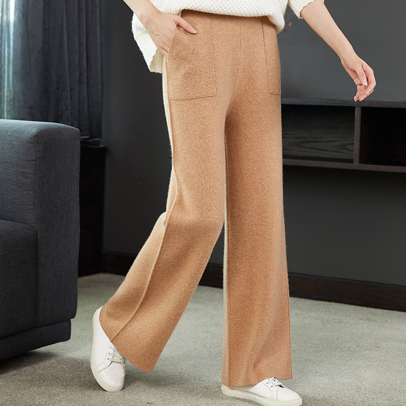 Wool wide leg pants for women in autumn and winter