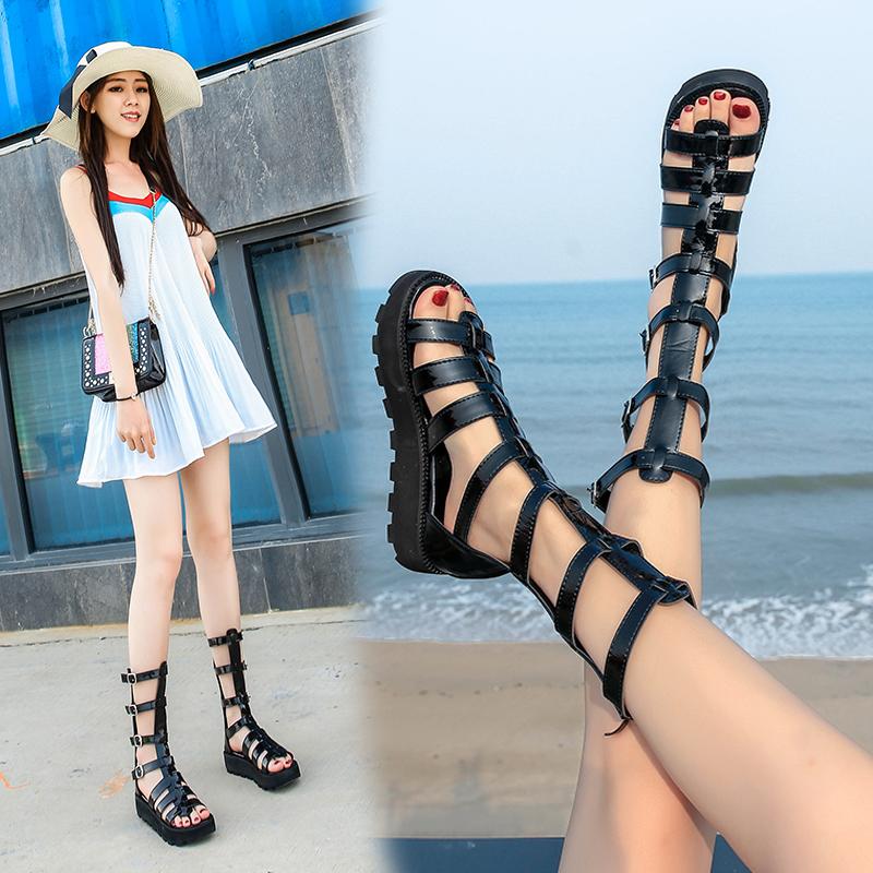凉靴女2021春夏季新款百搭韩版高跟暗黑度假镂空露趾厚底罗马凉鞋
