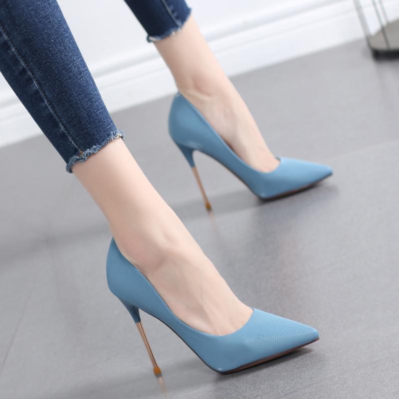 高跟鞋2021新款韩版细跟尖头浅口鞋子女春秋百搭网红法式少女单鞋