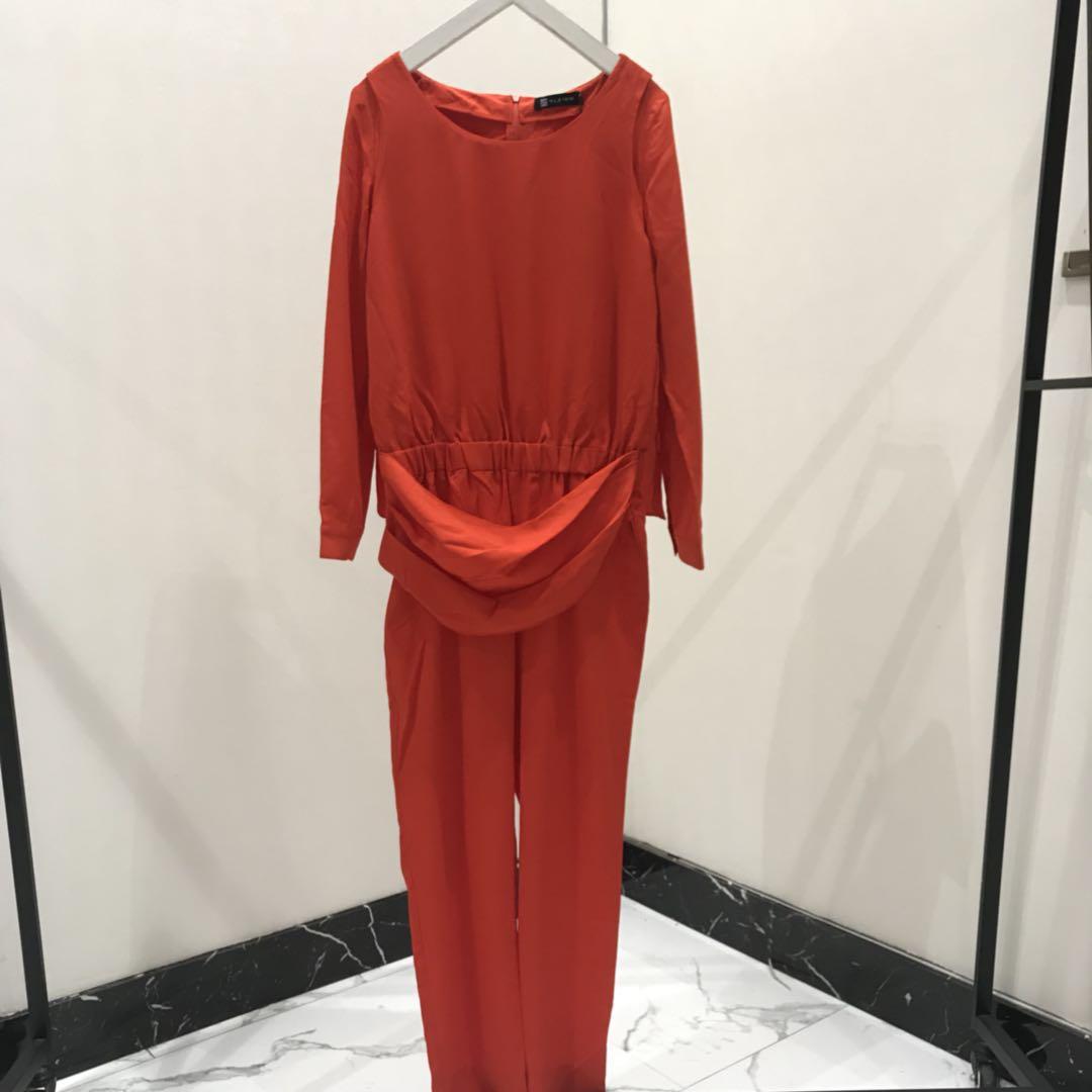 轻奢女装设计师品牌专柜精品纯色连体裤030890