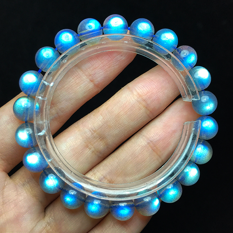 一图一物天然灰月光石手链女冰种玻璃体拉长石强蓝光彩水晶手串