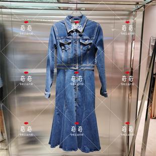 miss sixty新款2020秋季高收腰修身牛仔長袖連衣裙603DJ7791000