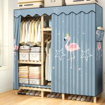 简易布衣柜实木布艺组装儿童家用卧室柜子简约现代出租房用挂衣橱