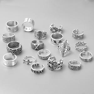 日韩S925素银宽面食指戒指女复古做旧开口可调节夸张个性创意指环