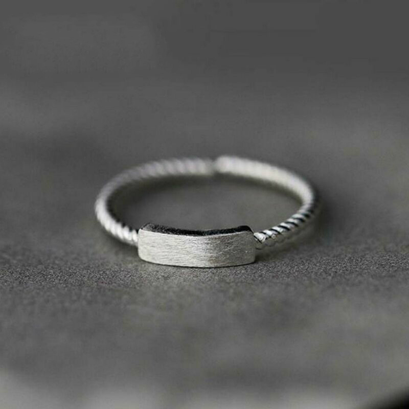 小张的故事复古设计S925纯银一字开口戒指女生指环时尚麻花食指戒