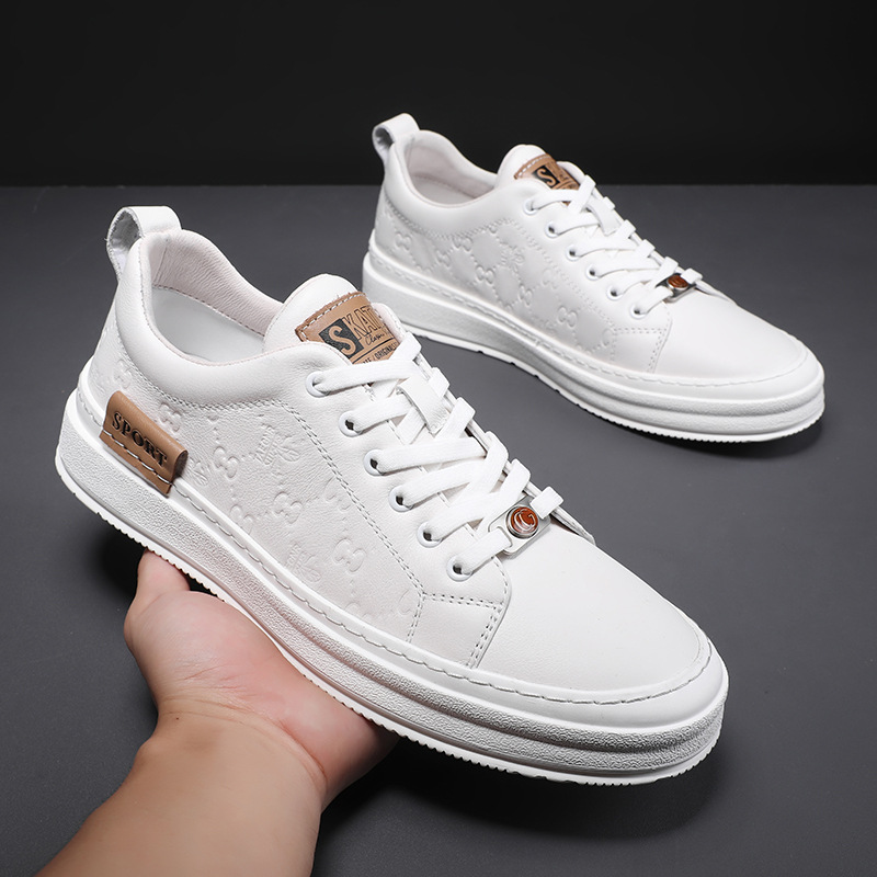 Leather casual board shoes mens 2021 autumn new mens small white shoes flat bottom low top sports student mens board shoes