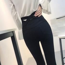 秋季黑色打底裤女外穿高腰后面交叉小脚铅笔弹力长裤魔术裤女黑裤图片