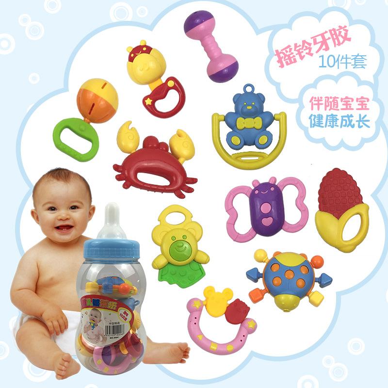 启蒙玩具0-1岁宝宝罐装10件套摇铃