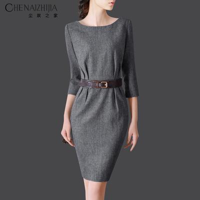 2019春装新款修身女装显瘦收腰包臀羊毛呢冬季连衣裙D09