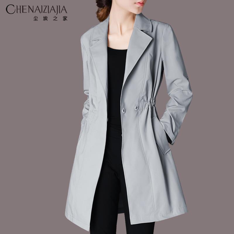 2021春装新款女装气质修身纯色西装领风衣中长款休闲薄款外套G38