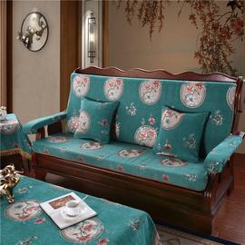 实木红木质沙发垫带靠背连体三人座垫冬季加厚防滑春秋椅海绵坐垫