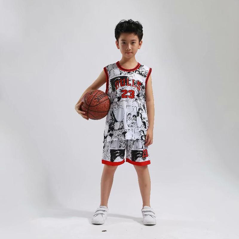 皓娜新款灌篮高手篮球服运动套装男儿童23号球衣迷彩DIY定制队服