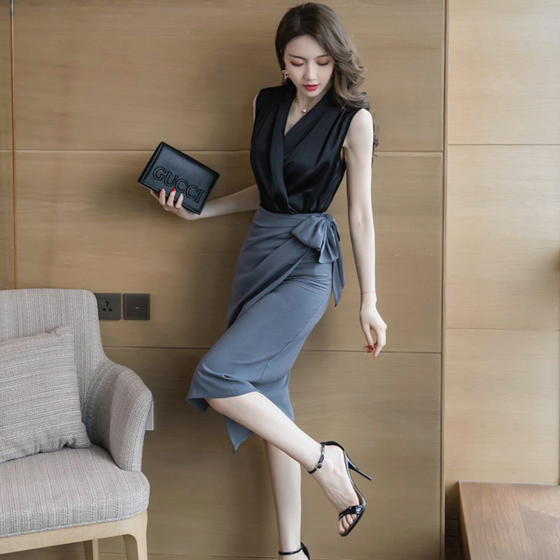 (用5元券)高冷御姐风女人味职业装气质连衣裙