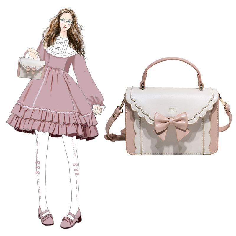 Lolita bag Lolita pink Lovely Japanese style slant across Lolita soft girl original color contrast small CK texture square bag