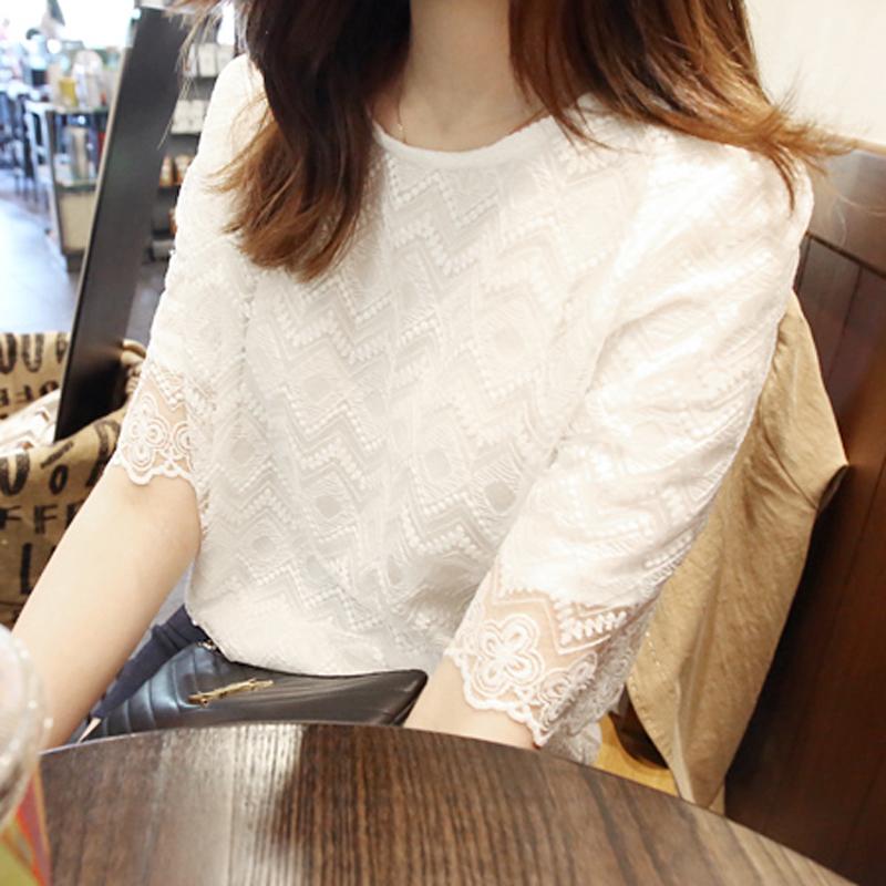 12月02日最新优惠夏季女士百搭宽松洋气雪纺衫短袖超仙镂空蕾丝小衫中袖遮肚子上衣
