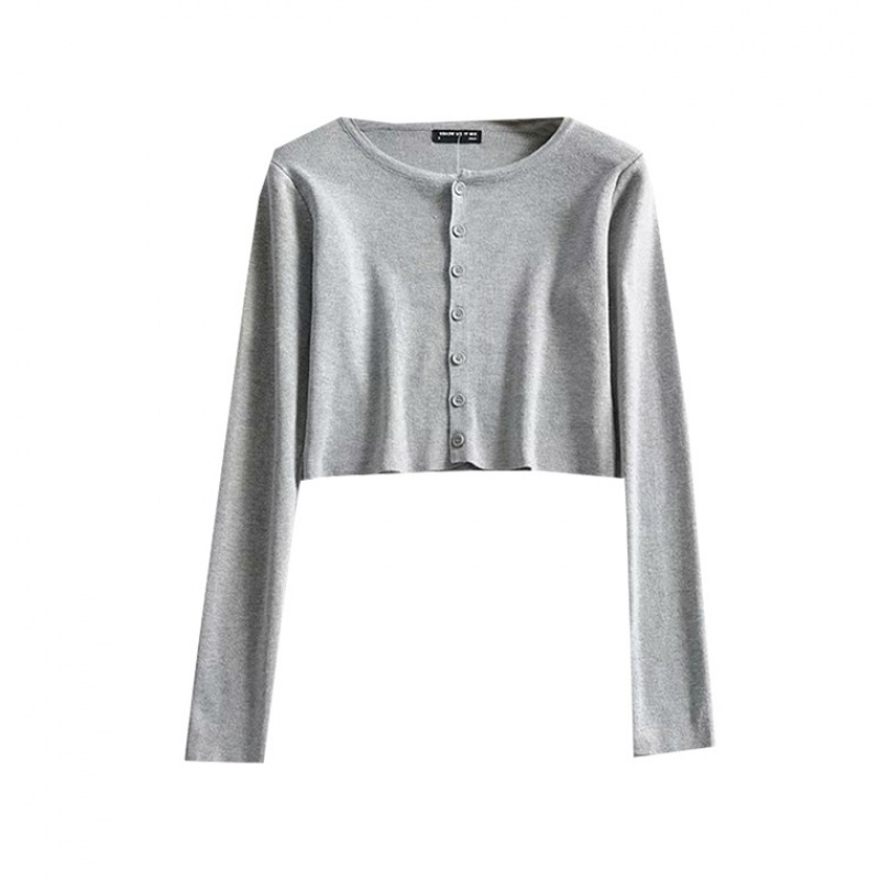 Blogger high waist single breasted Long Sleeve T-Shirt Top 2020 spring sweater cardigan slim fit short coat