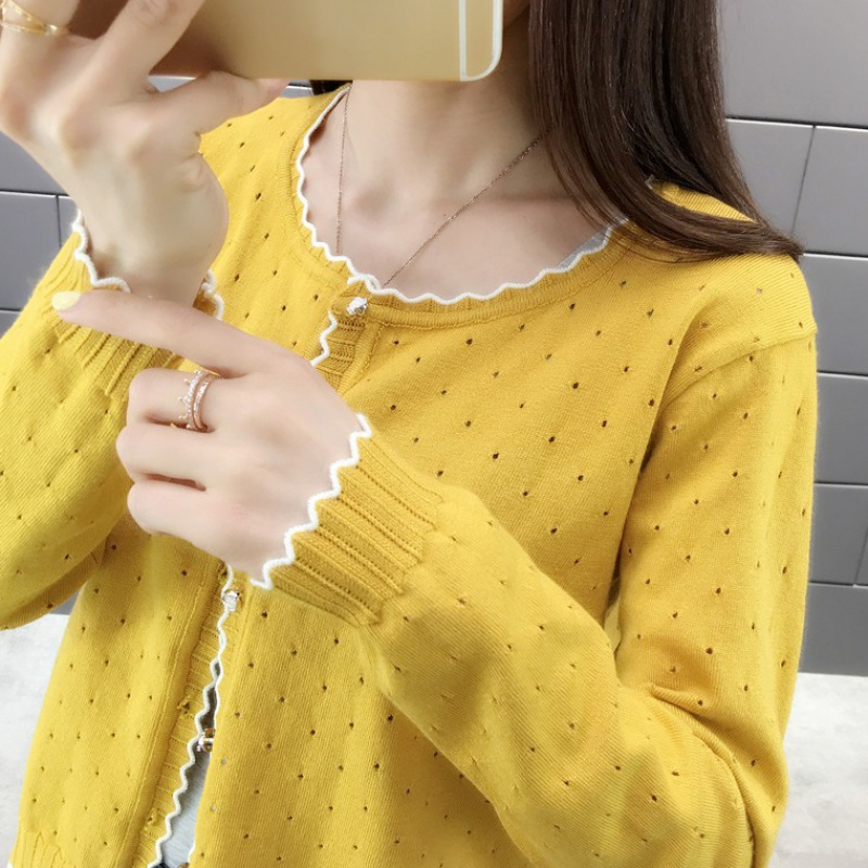 Spring and summer women 2020 new knitted cardigan small coat short sweater female loophole summer small cardigan coat thin