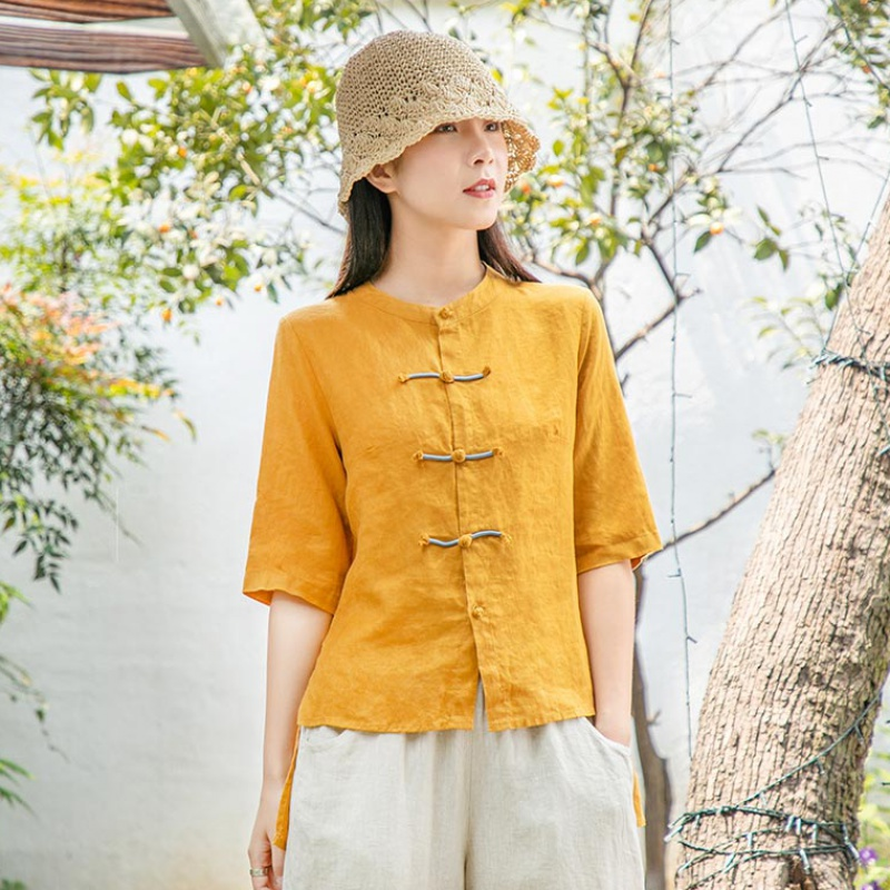 Summer womens Retro solid Linen Shirt womens loose medium sleeve irregular Shirt Top 2020 new women