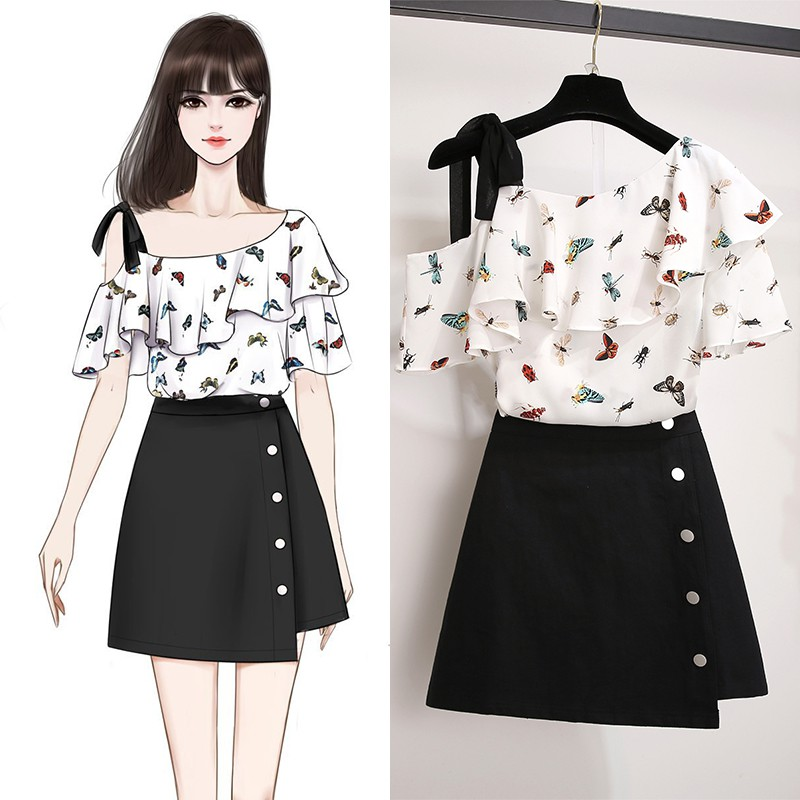 Short sleeve off shoulder chiffon shirt top cut flower cover belly show thin foreign style super fairy small shirt 2020 new summer