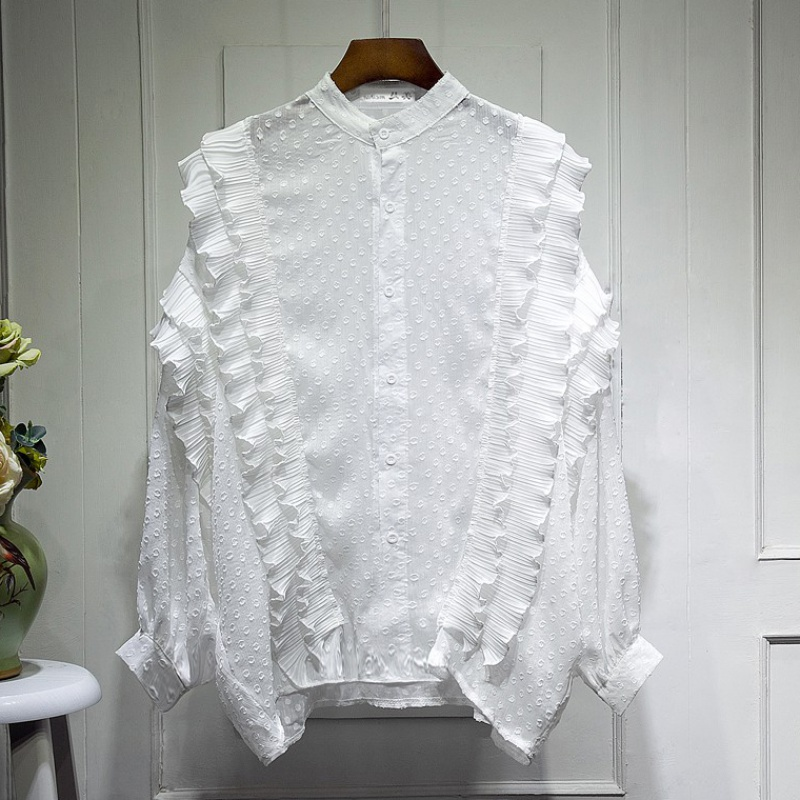 Pleated ruffled chiffon shirt womens autumn 2020 new style loose and versatile stand collar bat sleeve shirt