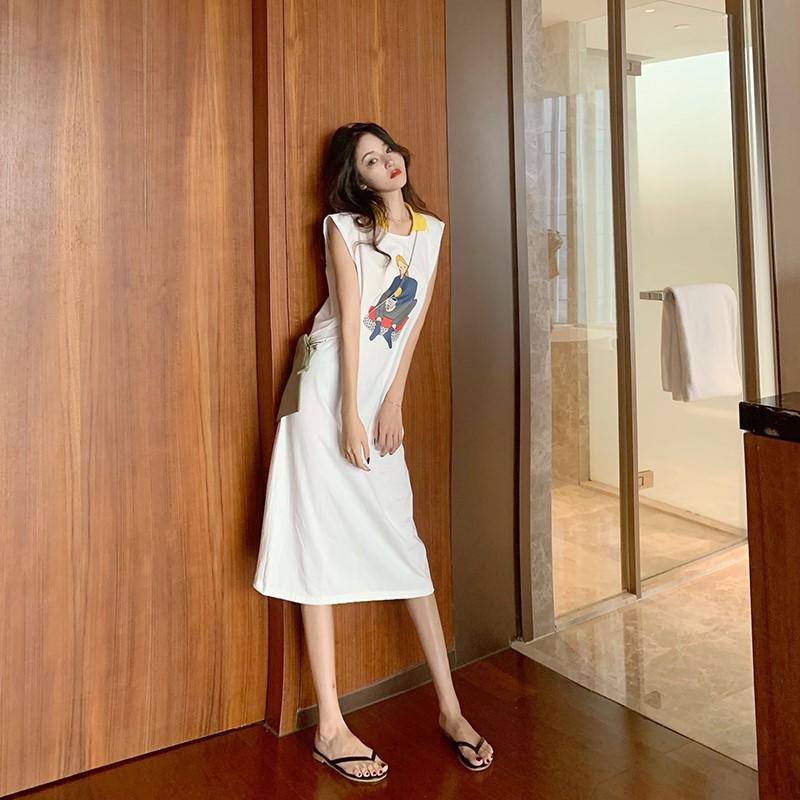 Summer leisure age reduction medium length vest skirt childrens 2020 summer new loose and slim sleeveless dress fashion