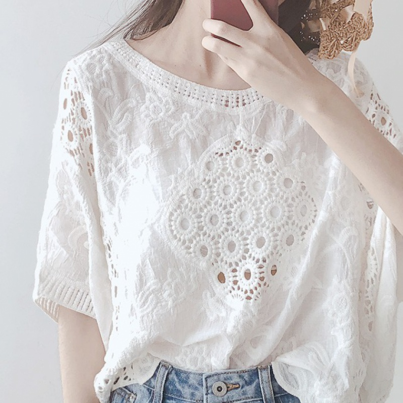 Summer cotton hollow Lace Crochet top womens white bikini blouse Holiday Beach shirt