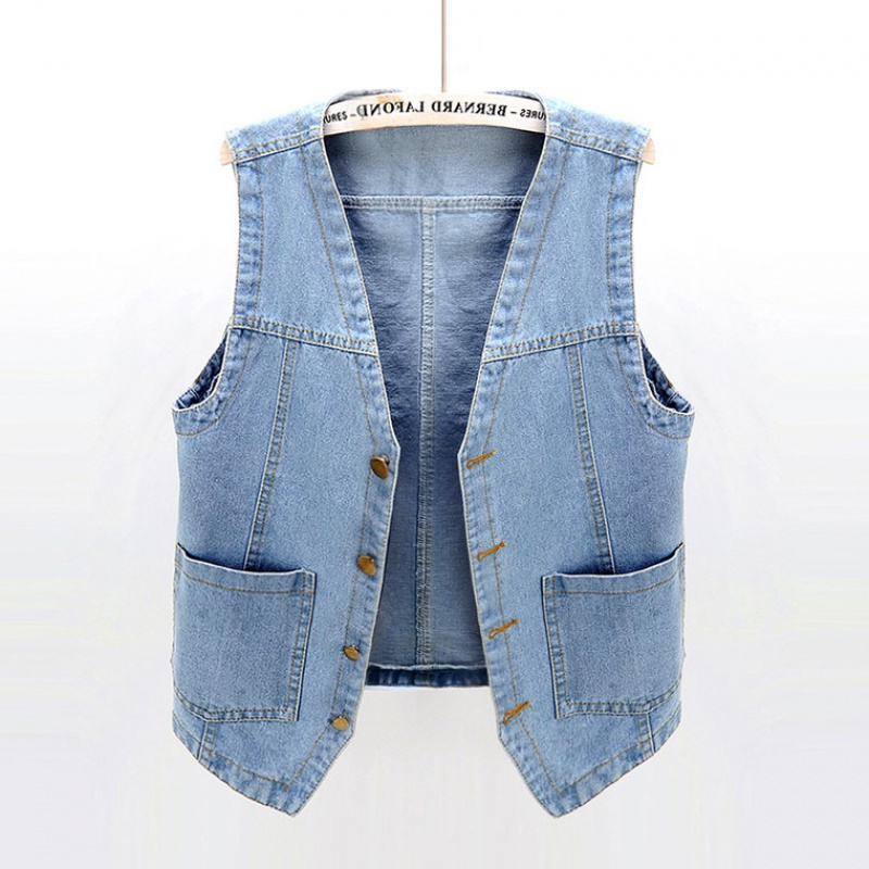 Denim vest womens short thin 2020 new spring and autumn BF sleeveless outerwear versatile tank top with student trend on the outside
