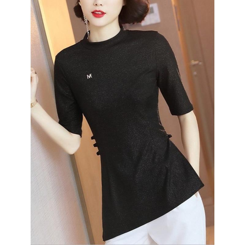 Cheongsam top womens Chinese standing collar elastic slim shirt summer new 2020 irregular medium sleeve black shirt