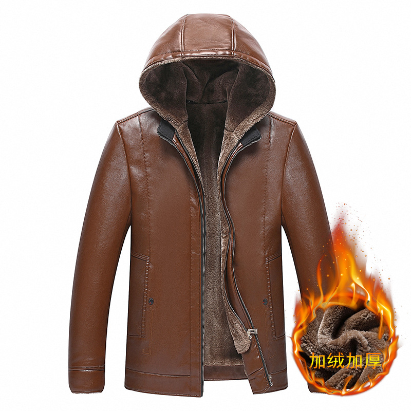 Middle aged large mens fashion detachable hooded Pu fur integrated windproof warm leather jacket dad leather coat