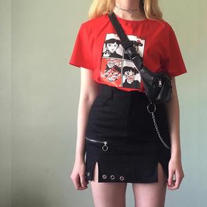 暗黑风设计感小心机半身裙女chic高腰短裙百搭ins拉链开叉包臀裙
