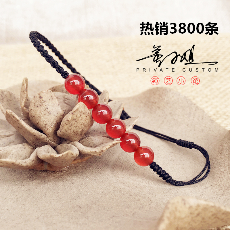Benmingnian red rope Anklet fashion agate Anklet Handmade Red and black rope Children Boys lovers girlfriends gifts