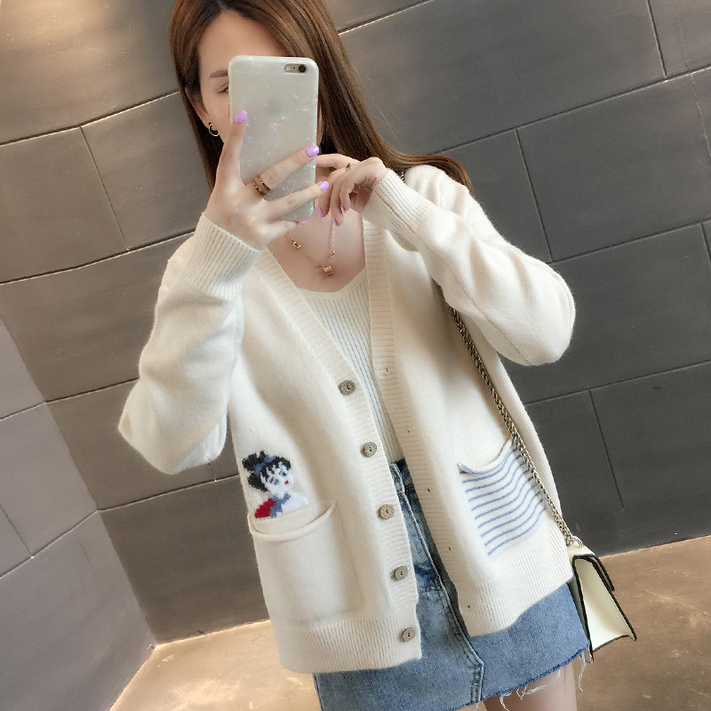 2020 new autumn womens clothing thin style students loose wear autumn sweater knitted cardigan coat womens spring and autumn trend