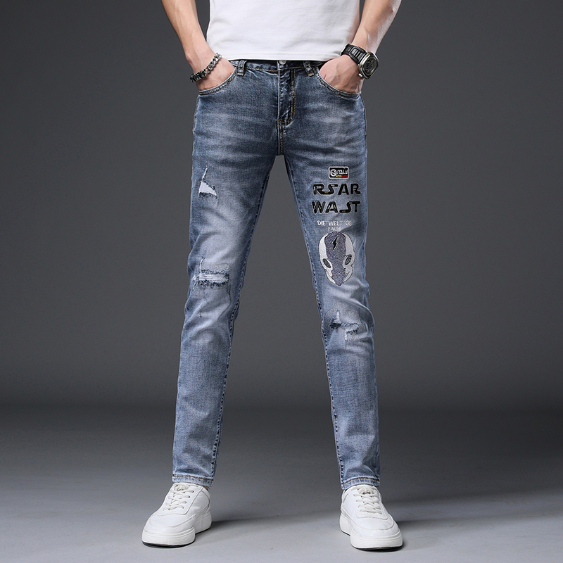 High end printed jeans mens Korean embroidery worn-out personalized elastic feet casual fashion brand slim pants