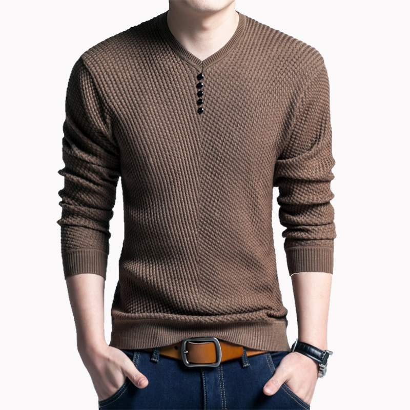 Spring and autumn new long sleeve T-shirt middle-aged mens sweater casual youth solid color V-neck Pullover Sweater bottomed shirt