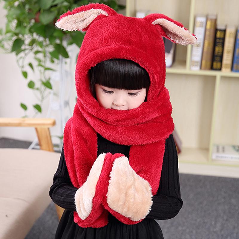 Мультики ребенок шарф перчатки три образца девушка нагрудник перчатки три в одном установить толстый