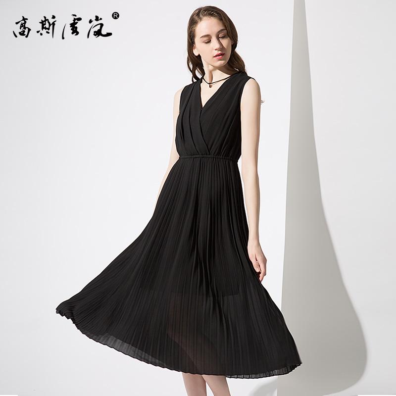高斯雪岚女装  2018新款夏上衣春装 修身雪纺连衣裙中长款