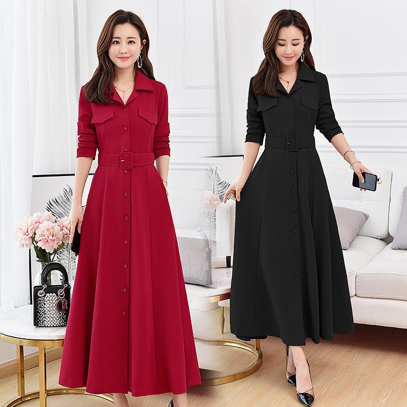 过膝加长款大摆长裙女装春季到脚踝衬衫裙子名媛气质长袖连衣裙。