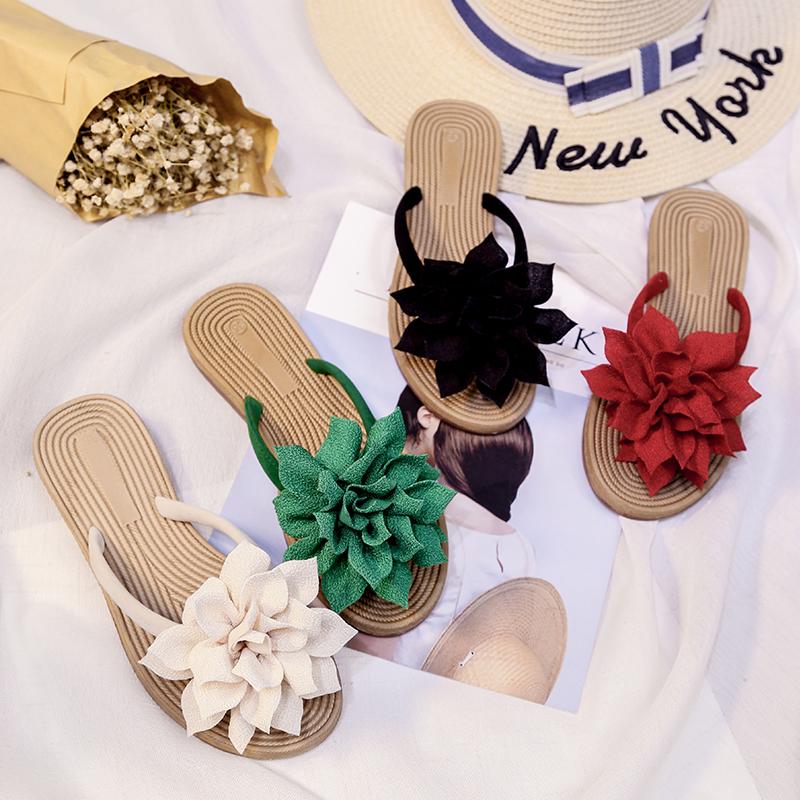 Sweet beauty flower beach shoes herringbone flat heel slippers holiday sandals womens summer seaside soft bottom anti-skid shoes